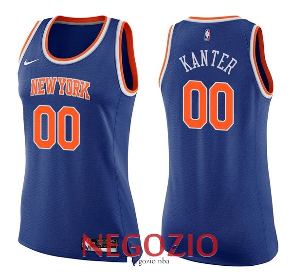 Migliori Maglia NBA Donna New York Knicks NO.0 Enes Kanter Blu Icon