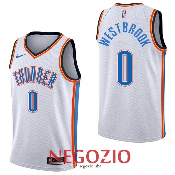 Migliori Maglia NBA Nike Oklahoma City Thunder NO.0 Russell Westbrook Bianco Association