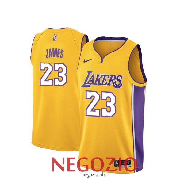 Migliori Maglia NBA Nike Los Angeles Lakers NO.23 Lebron James Giallo Icon
