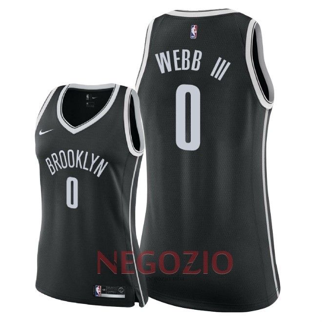 Migliori Maglia NBA Donna Brooklyn Nets NO.0 James Webb III Nero Icon 2018
