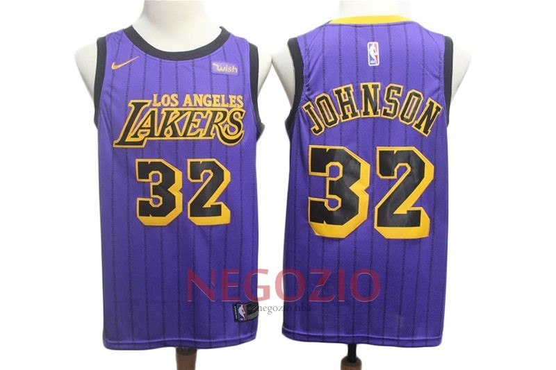 Migliori Maglia NBA Nike Los Angeles Lakers NO.32 Magic Johnson Porpora Città 2018-19